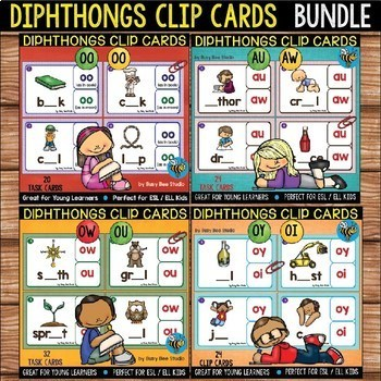 Diphthongs Clip Cards Bundle