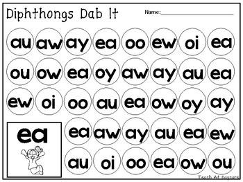 Diphthongs Dab It Worksheets. 10 pages. Kindergarten-1st Grade ELA.