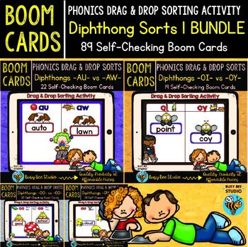 Diphthongs Drag and Drop Sorts | Boom Cards Bundle