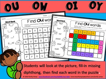 Diphthongs Word Search: Fill-in-and-Find Phonics Puzzle
