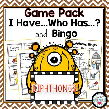 Diphthongs- I Have, Who Has and Bingo Game Pack
