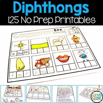 Diphthong No Prep Printables (Phonics Worksheets for oi, oy, ou, ow & more)