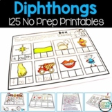 Diphthong No Prep Printables (Phonics Worksheets for oi, o