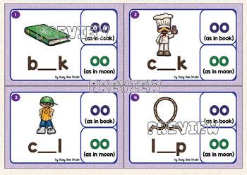 Diphthongs -OO- as in book and -OO- as in moon Clip Cards