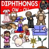 Diphthongs OU-OW Clip Art Bundle {Educlips Clipart}