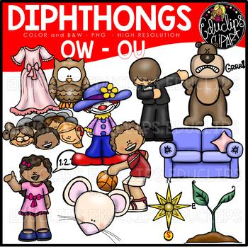 Diphthongs OU-OW Clip Art Bundle {Educlips Clipart}