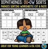 Diphthongs -OU- and -OW- Sorts   Cut and Paste Worksheets