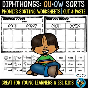 Diphthongs -OU- and -OW- Sorts | Cut and Paste Worksheets