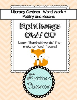 Diphthongs OW OU Band-aid Word Work and Poetry Pack #1