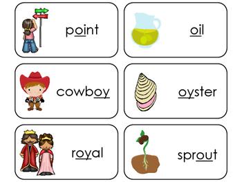 Diphthongs Printable Flashcards. Preschool- 1st Grade ELA.