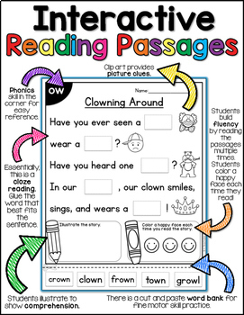 Diphthongs & R-Controlled Vowels Interactive Reading Passages