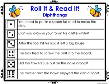 Diphthongs Roll It! Read It! Game Cards