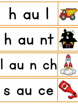 Diphthongs Segmenting and Blending Cards - Word Sliders