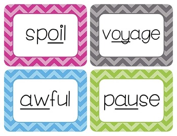 Diphthongs Word Wall Cards