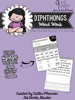 Diphthongs Word Work Printables