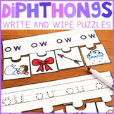 Diphthongs Write and Wipe Puzzles | ow, ou, oi, oy