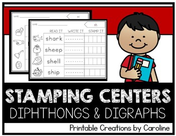 Diphthongs and Digraph Stamping Centers. Printable. Activities.