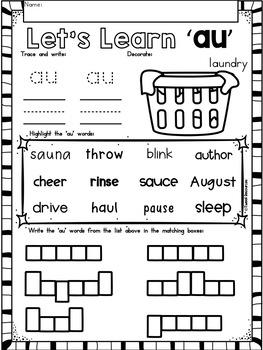 AU Diphthongs Phonics Word Work Printables