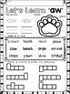 AW Diphthongs Phonics Word Work Printables