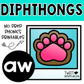 """Diphthongs """"aw"""" Phonics Printables"""