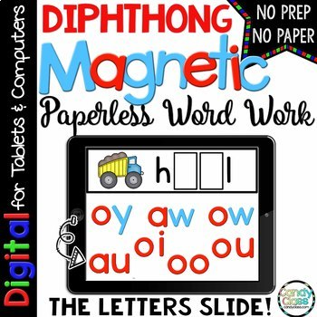 Diphthong Digital Word Work for Google™ Use - Paperless Phonics Centers