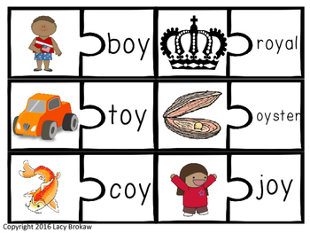Diphthongs oi oy ou ow Matching game