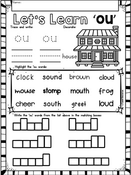 OU Diphthongs Phonics Word Work Printables