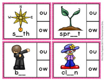 Diphthongs ou and ow Clip Cards