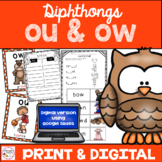 Diphthongs ou ow Activities  - Print & Digital components