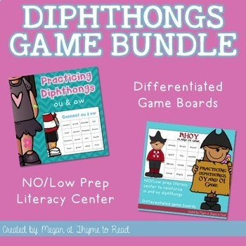 Diphthongs ou/ow and oi/oy Game Bundle