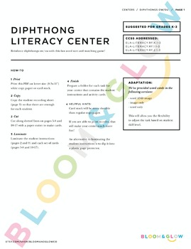 Diphthongs ow/ou Literacy Center