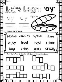 OY Diphthongs Phonics Word Work Printables