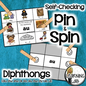Diphthongs (vowels) - Self-Checking Phonics Centers