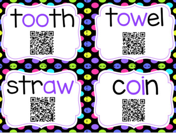 Diphthongs with QR Codes- Perfect for a Review!