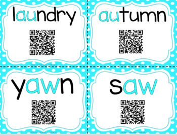 Diphthongs with QR Codes for AW and AU