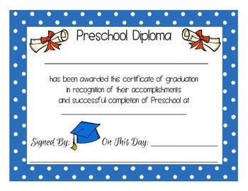 Diploma Certificate for Preschool PreK Kindergarten