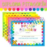 Diploma Tablas de multiplicar - Diploma Pitagorín - Colour me Confetti