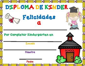 Diploma de Kinder:  Editable Spanish Kindergarten Diploma