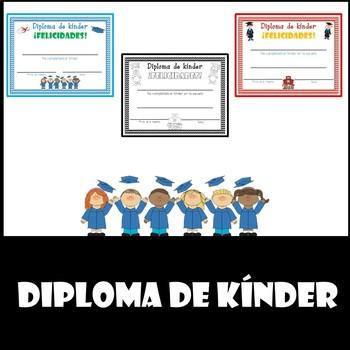 Diploma de kinder (kindergarten diploma-Spanish)