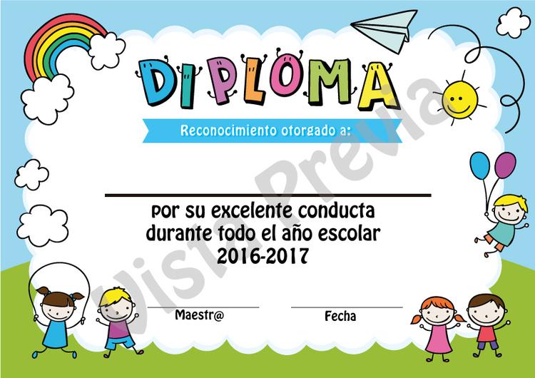 Diplomas Editables De Excelente Conducta Y Excelente
