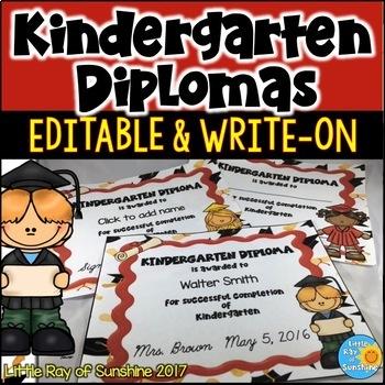Diplomas - Kindergarten EDITABLE & WRITE-ON