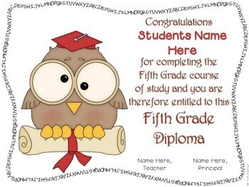 Diplomas and Invitations Editable with Multi-Grade levels