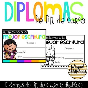 Diplomas de fin de curso (End Of The Year Editable Certificates in Spanish)