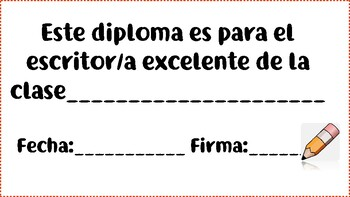 Diplomas for the Spanish Class