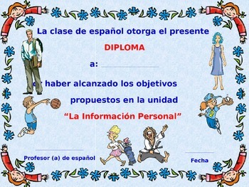 Diplomas of Motivation for our Spanish Class. Power Point Presentation.
