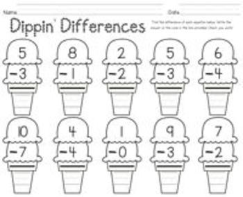 Dippin' Differences {subtraction practice with ice cream}
