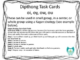 Dipthong Kagan Task Cards OI, OY, OW, OU for Literacy Cent