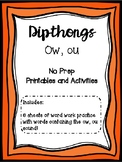 Dipthong Ow, Ou Printables and Activities