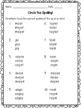 Dipthong Oy, Oi Printables and Activities