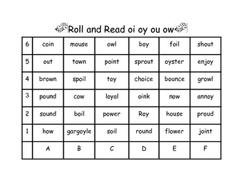 Dipthong oi oy ou ow Roll and Read